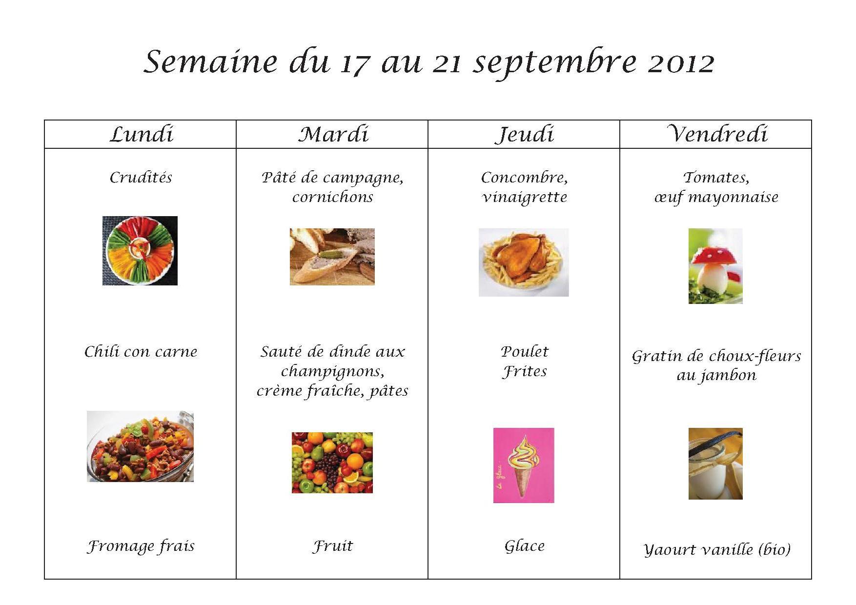 Menus du 17 au 21 septembre 2012
