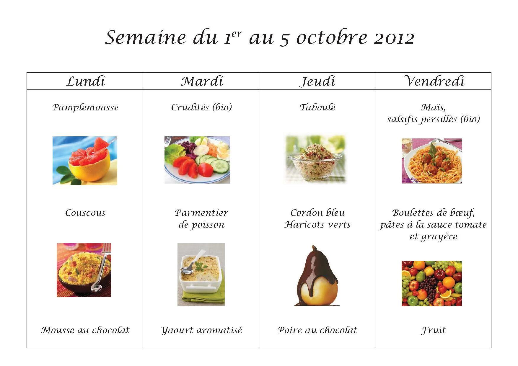 Menus du 1er au 5 octobre 2012