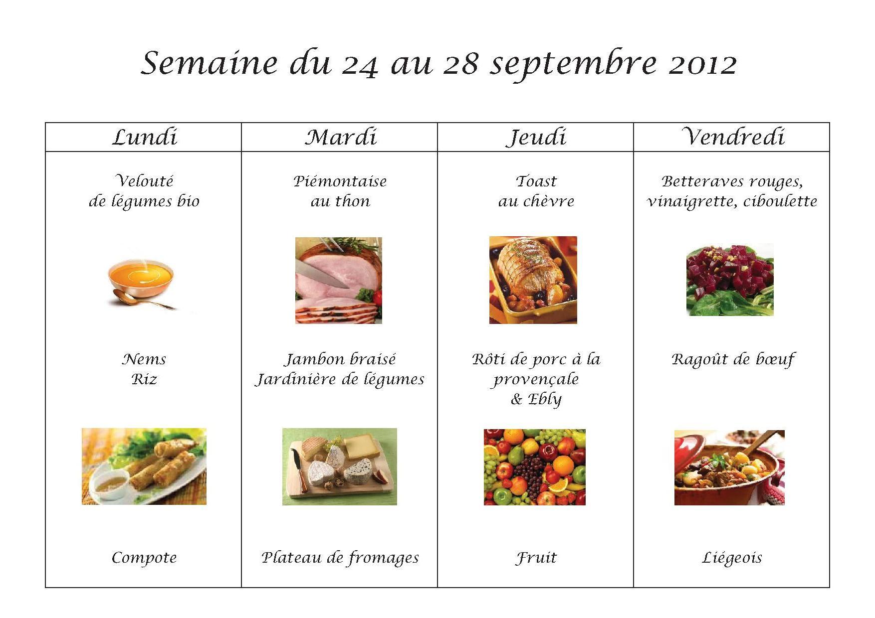 Menus du 24 au 28 septembre 2012