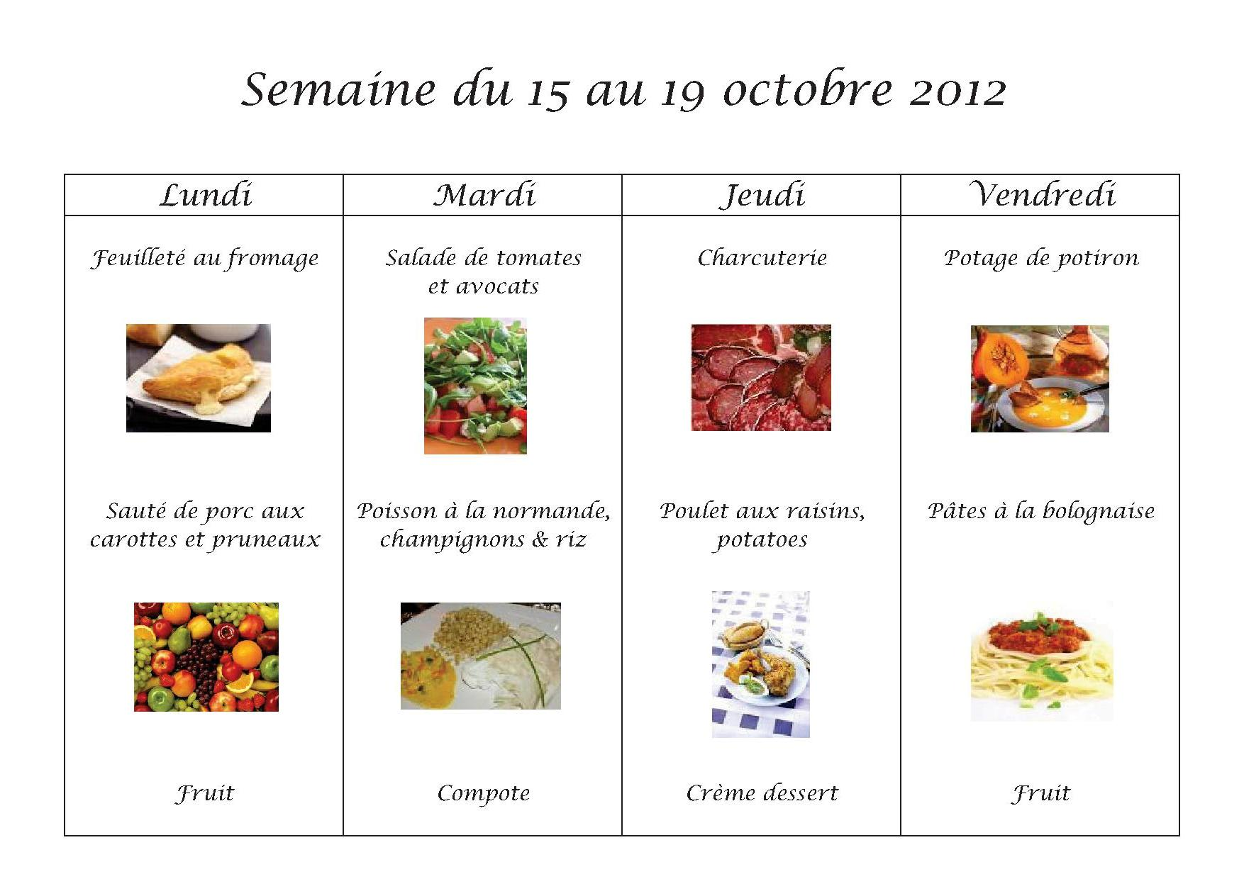 Menus du 15 au 19 octobre 2012
