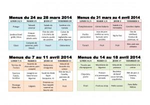 TABLEAU MENUS MARS-AVRIL 2014