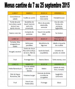 menus cantine septembre 2015