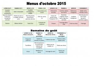 menus d'octobre 2015