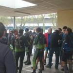 Collation sous le préau de l'école