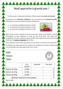 Vente chocolats Noel 2015