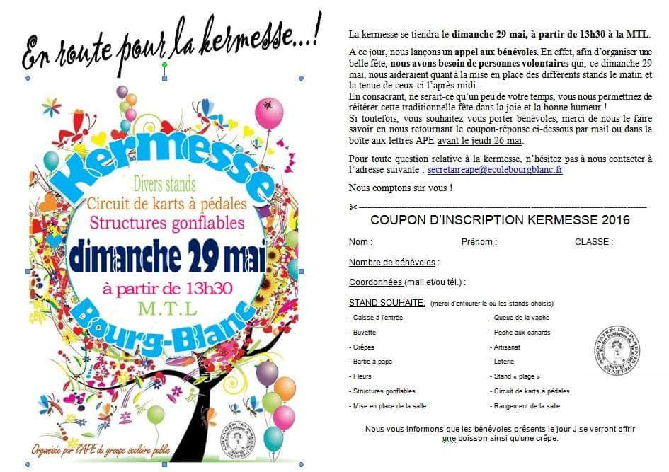 Kermesse blog de l 39 ape de l 39 cole publique de bourg blanc for Recherche personne pour tondre pelouse